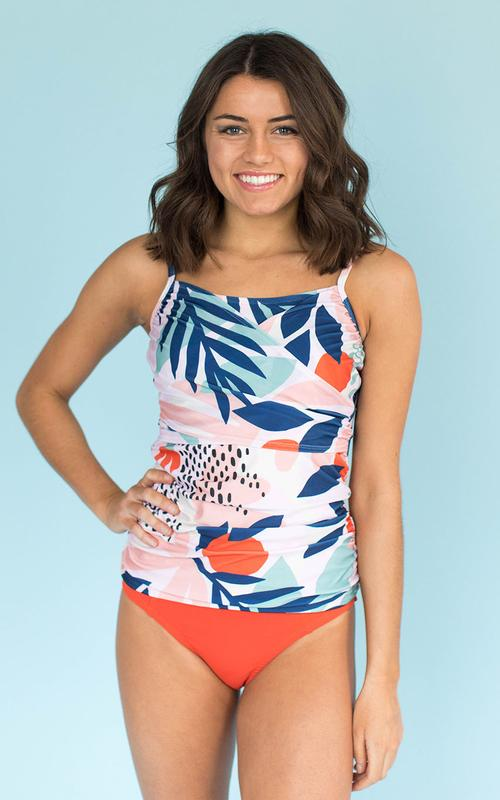 Abstract Floral Wrap Tankini $59.50