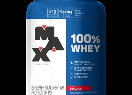 100% Whey Concentrado Morango - Max Titanium 900g