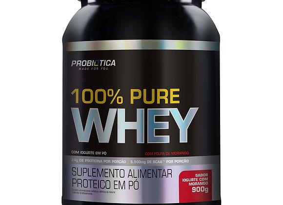 100% Pure Whey Proteico Probiotica sabor Iogurte com Morango - 900g