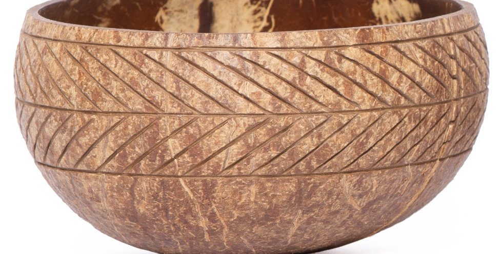 Bohemian Bowls Rustic Coconut Bowl With An Engraved Band Of Chevron Pattern Design Side View