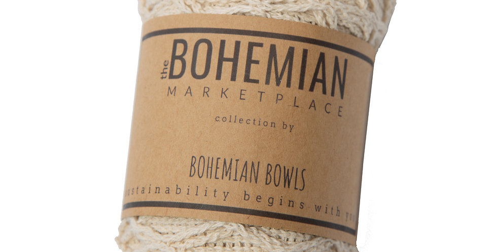 Bohemian Bowls Cotton Market Net Bag With Packaging Label Flat Lay