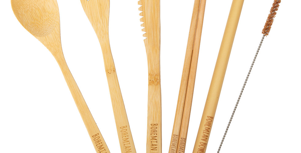 Bohemian Bowls Bamboo Utensil Set Includes Spoon Fork Knife Chopsticks Straw And Coconut Husk Straw Cleaner Roll Pouch