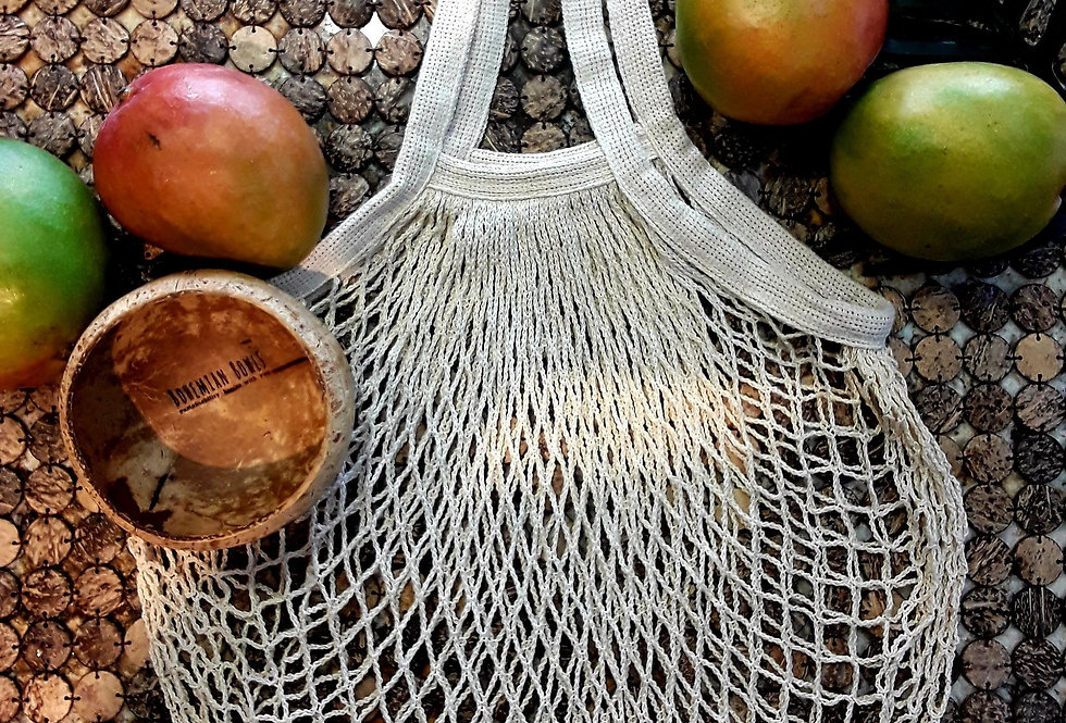 Bohemian Bowls Eco Friendly Combo Cotton Net Bag With Coconut Bowl And Mango Flat Lay