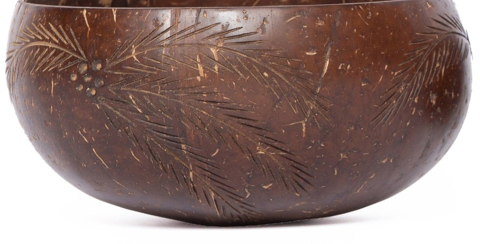 Bohemian Bowls Calypso Design Polished Coconut Bowl Engraved With Coconut Palm Tree Designs Side View