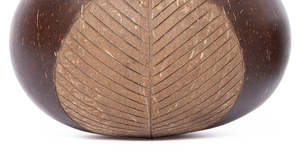 Bohemian Bowls Native Design Polished Coconut Bowl With Engraved Rustic Leaf Designs Side View