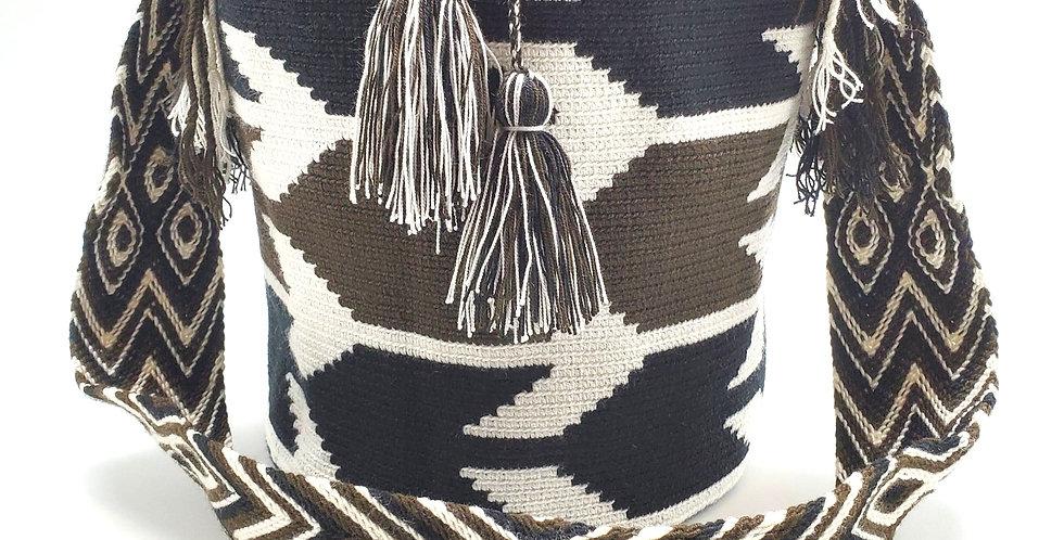 Handwoven Bucket Boho Wayuu Bag Bold Arrow Patterns In Brown And Black Against Light Beige Base Has Pom Pom Cinch Closure
