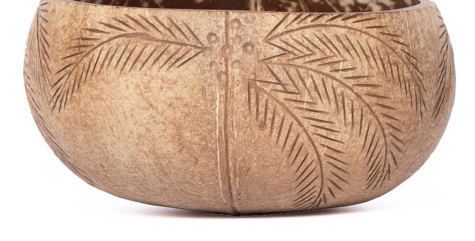 Bohemian Bowls Rustic Coconut Bowl Engraved With Coconut Palm Tree Designs Side View