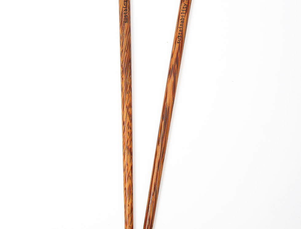 "Bohemian Bowls Coconut Palm Wood Chopsticks Engraved With Message ""Sustainability Begins With You"""