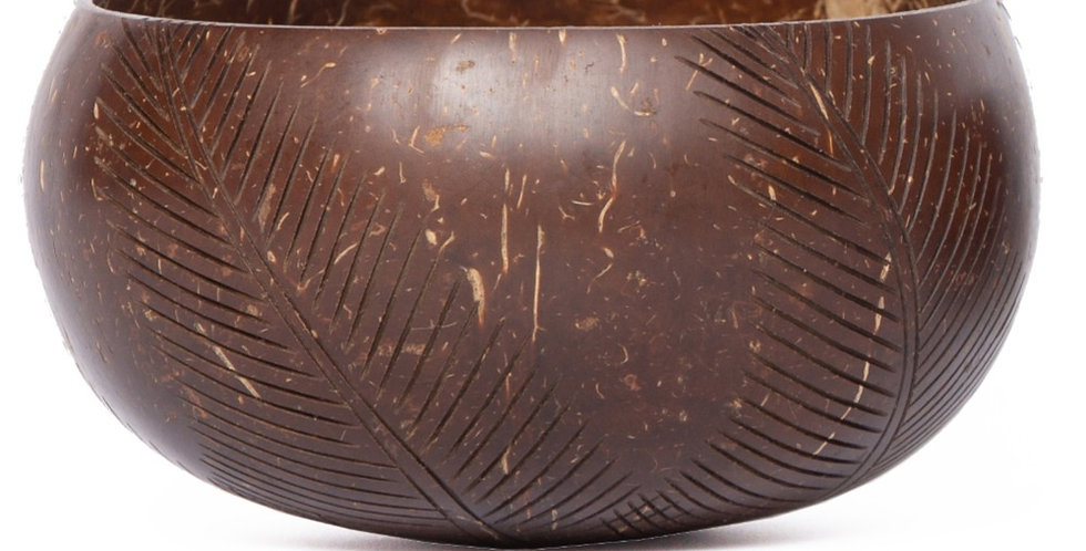 Bohemian Bowl Polished Coconut Bowl Engraved With Palm Leaf Designs Side View