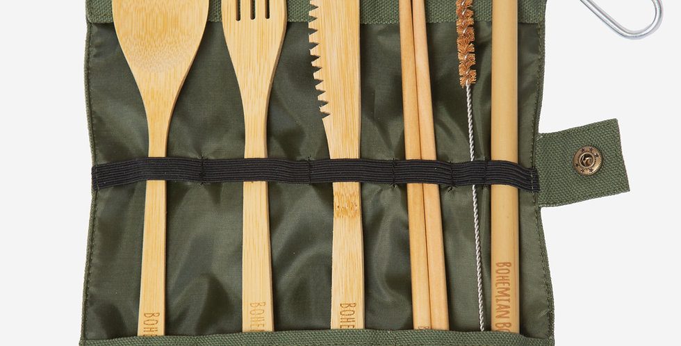 Bohemian Bowls No excuse For Single Use Bamboo Utensil Set Includes Spoon Fork Knife Chopsticks Straw Straw Cleaner Pouch