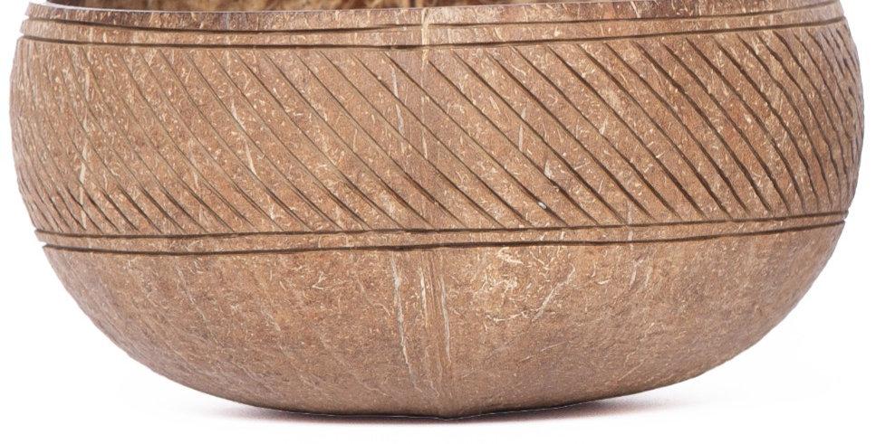Bohemian Bowl Maverick Design Rustic Coconut Bowl Engraved With Diagonal Line Pattern Band Side View