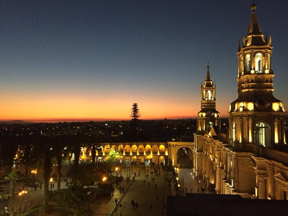 travel to peru and watch the sunset in arequipa