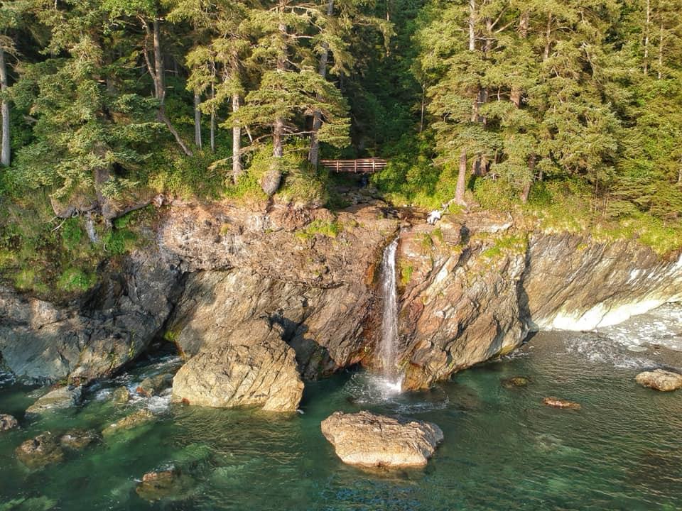 Sombrio beach hidden waterfall is a great spot to visit when driving to port renfrew from sooke