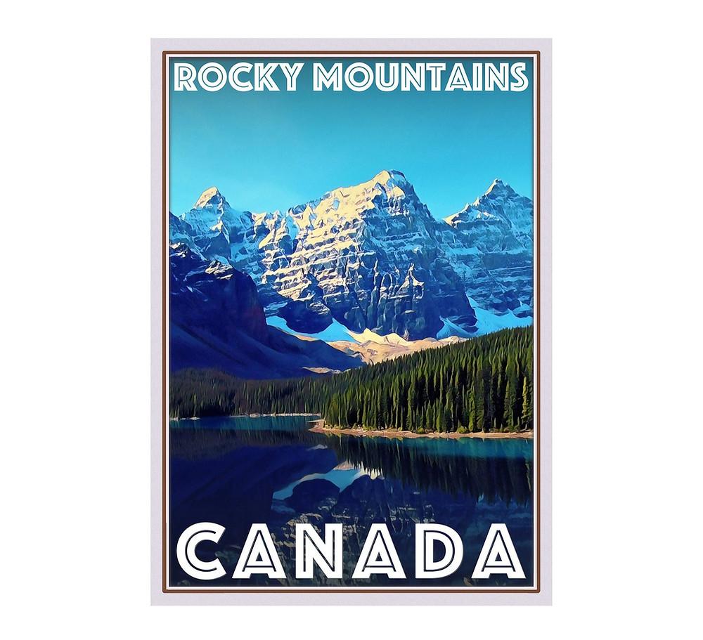 hiking banff mountains poster
