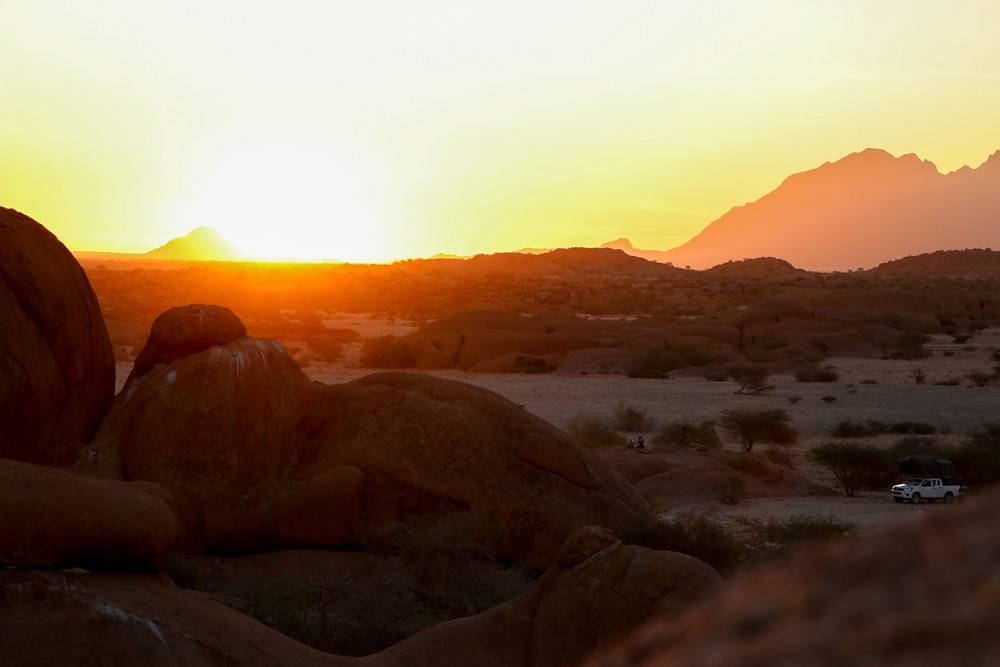 Watching the sunset at Spitzkoppe is a must-do whilst in Namibia