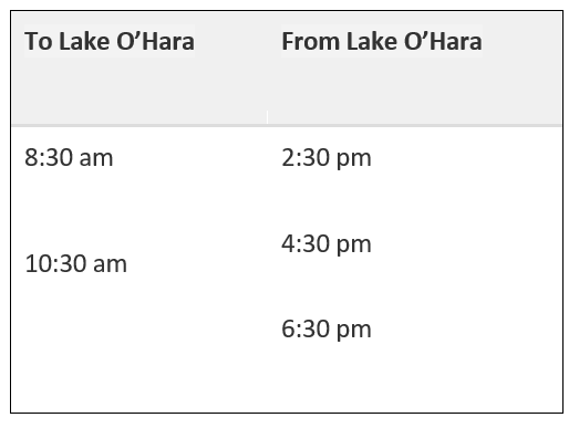 Lake O'Hara Bus Schedule