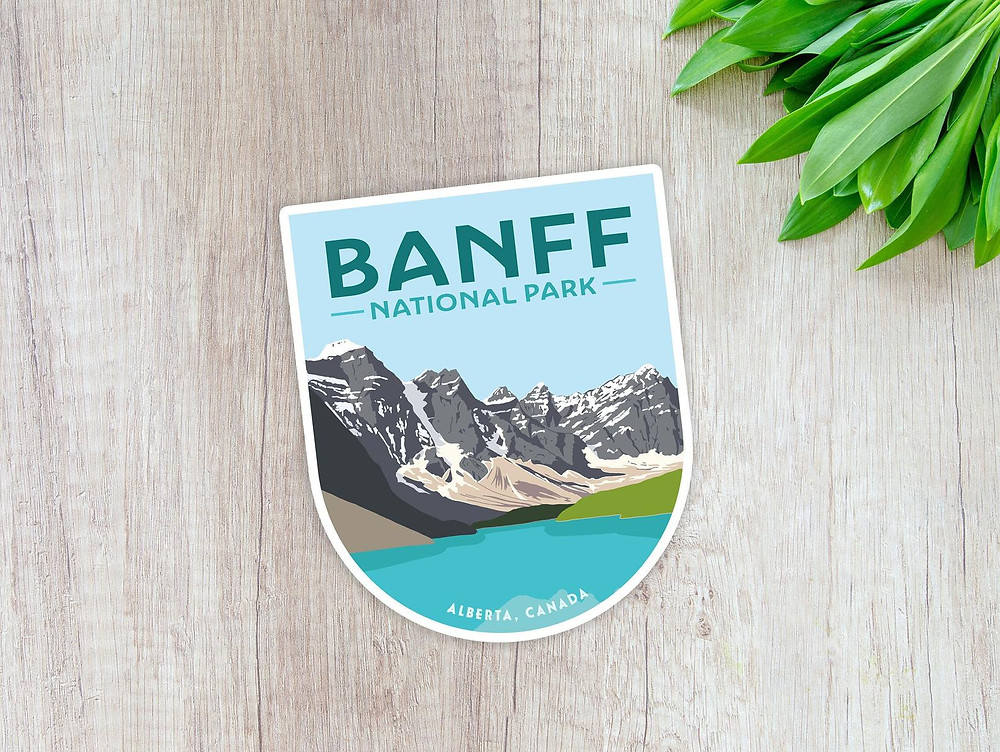Banff national park sticker with one of the most beautiful lakes in the canadian rockies