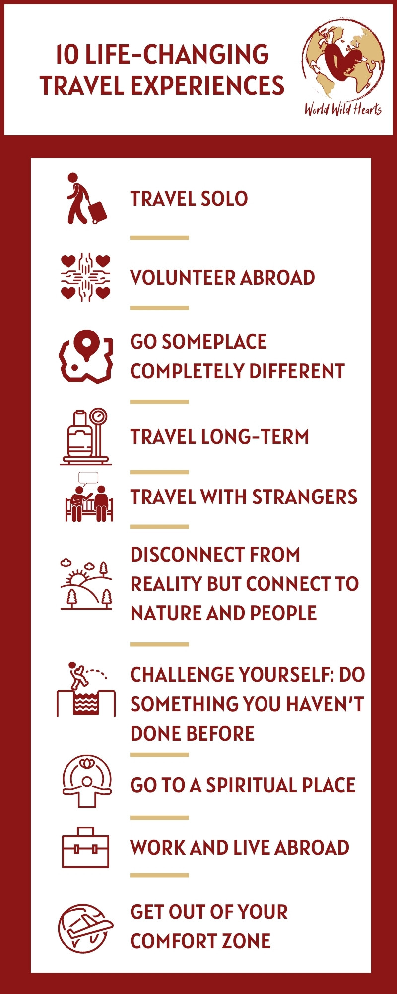10 travel experiences that will change you forever infographic