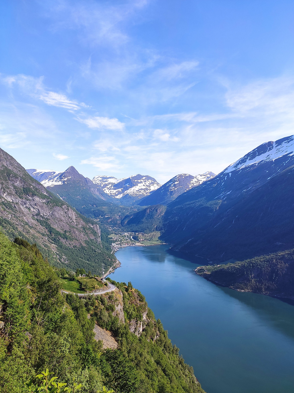 Geiranger in Western Norway from the Ornesvingen viewpoint