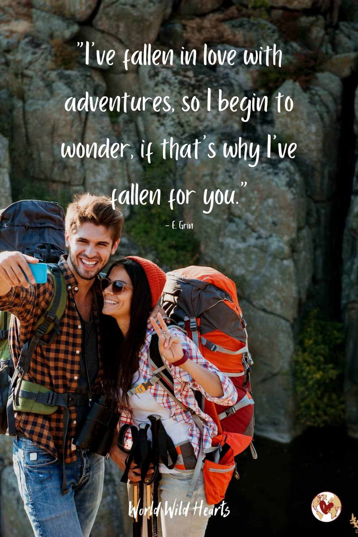 Adventurous couple travel quote