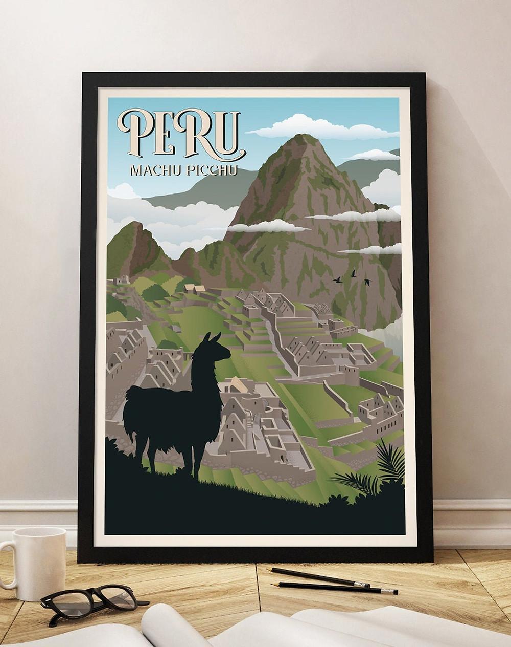 machu picchu travel poster peru