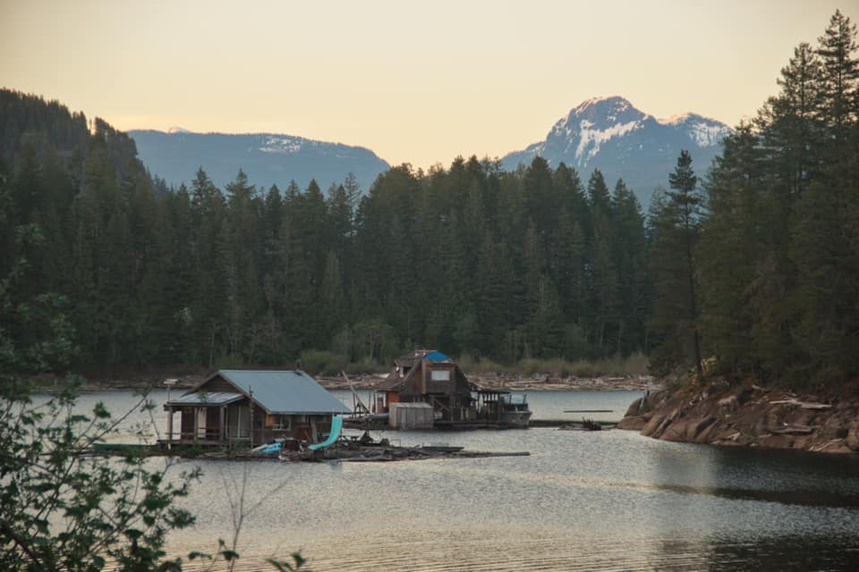 The little houses on the lakes in Powell River along the Sunshine Coast in BC