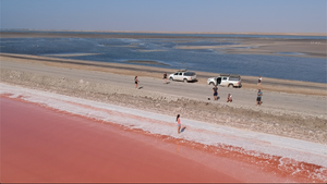Pink Lake in Walvis Bay is a highlight on the 7 days itinerary in Namibia