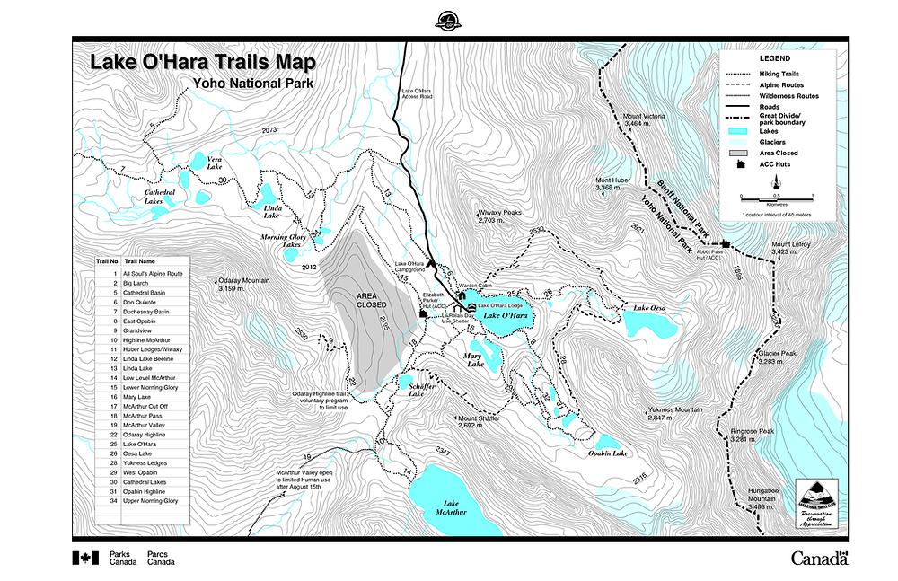 Lake O'Hara Hiking Trails Map