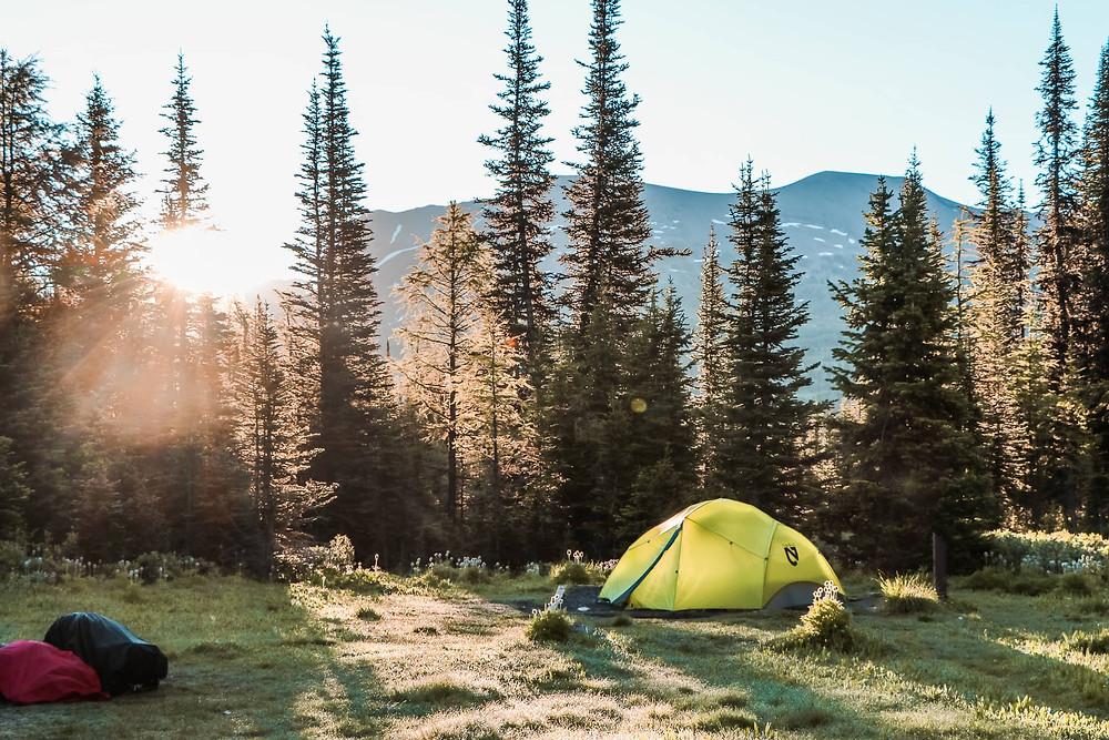 Mount Assiniboine camping at lake magog