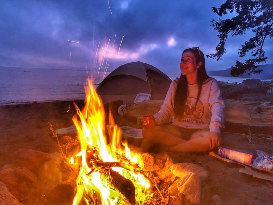 Sombrio beach camping at high season