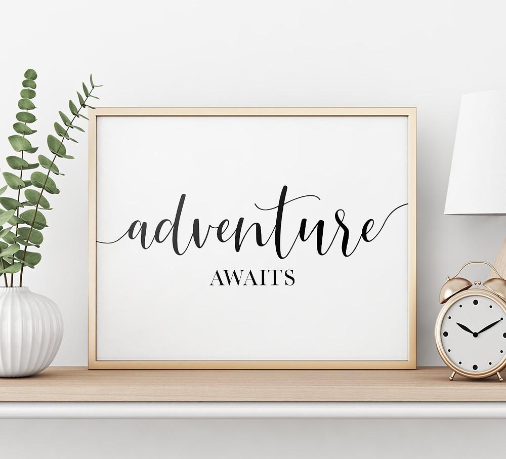 Adventure awaits travel poster