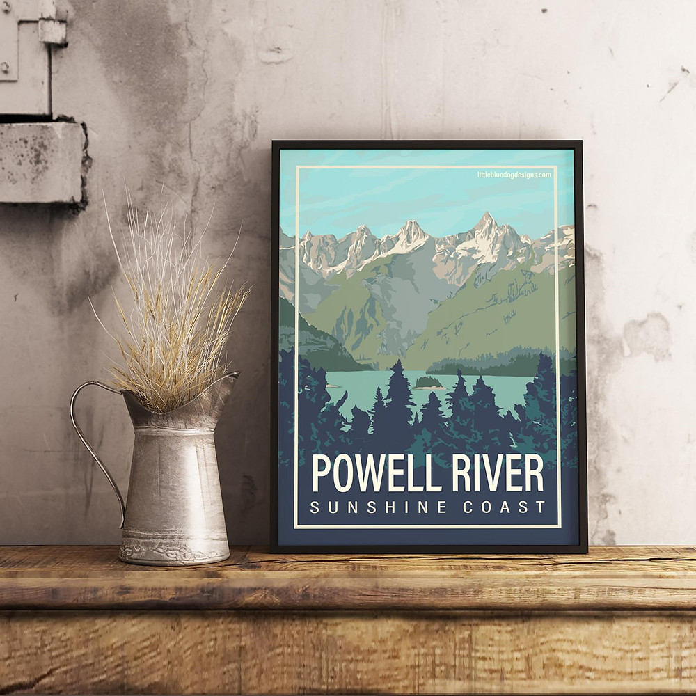 powell river bc travel poster