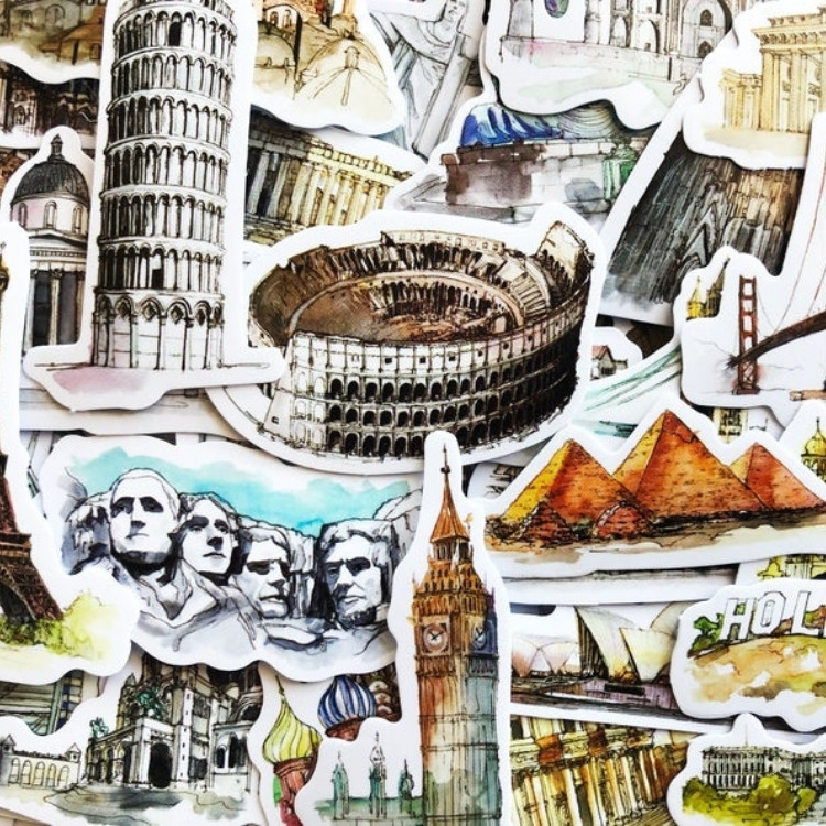 World travel stickers gift