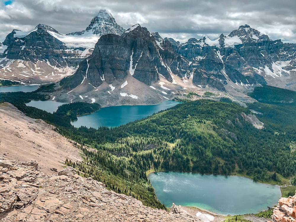 Views of Mount Assiniboine from the ridge towards the Nub Peak