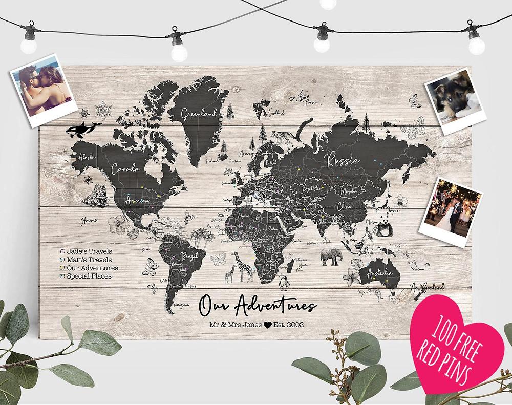 valentine's day gift world map