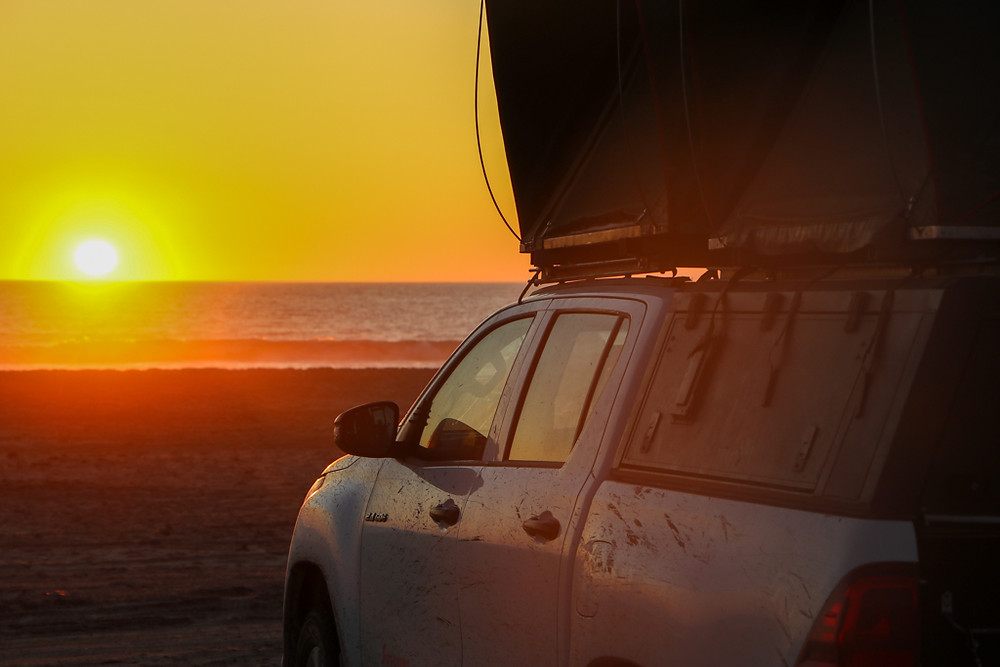 Camping in Namibia by 4x4 jeep with roof tent