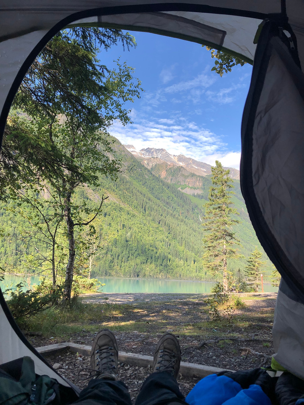 Kinney Lake Campground morning views along the Berg Lake Trail