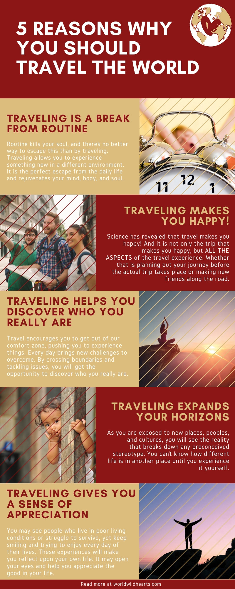 5 Reasons why you should travel the world infographic