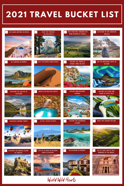 travel bucket list for 2021
