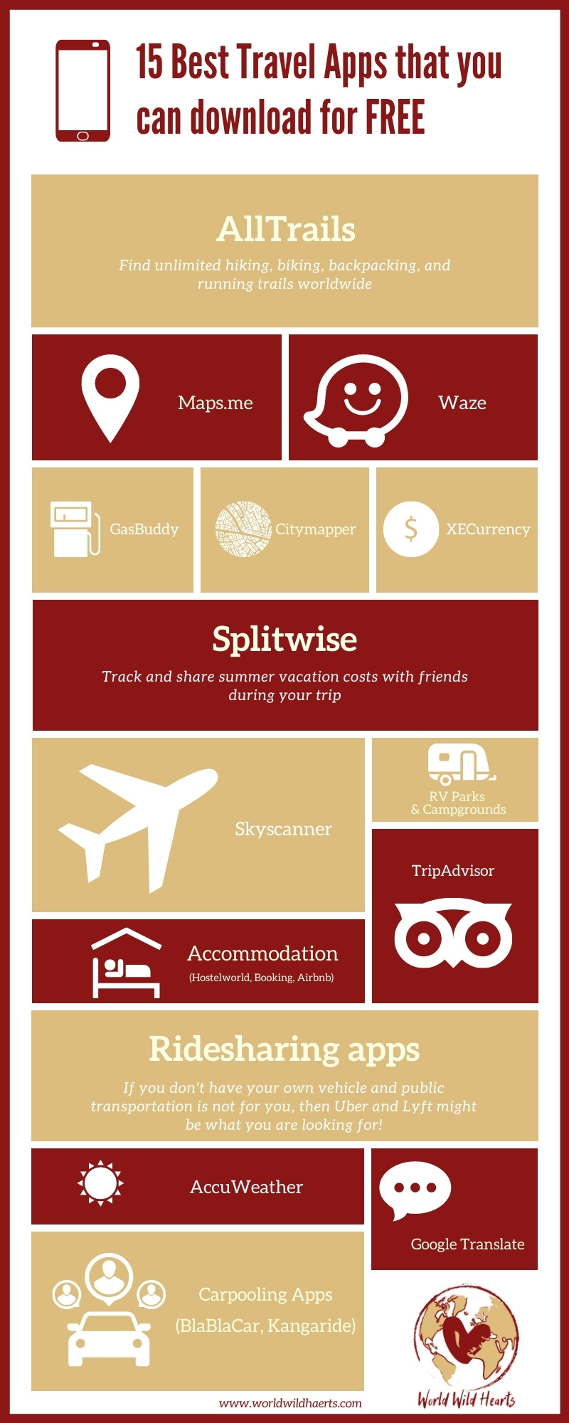 Best Travel Apps that you can download for free infographic