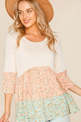 Curvy Beige Floral Tiered Tunic