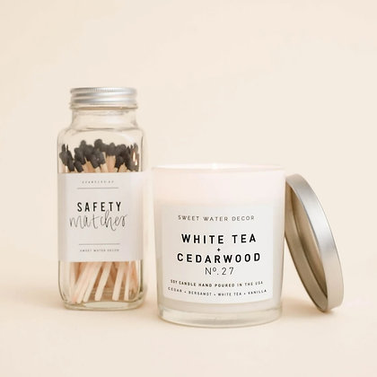 White Tea + Cedarwood Candle with Matches