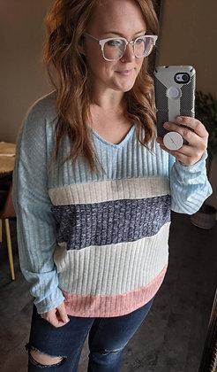 Curvy Blue Color Block Sweater