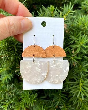 Cream Deco Drop Earrings