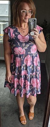 Curvy Pink Floral Dress