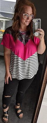 Curvy Pink Stripe Camo