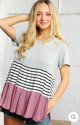 Grey & Plum Stripe Tunic