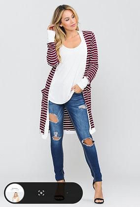 Maroon Stripe Cardigan