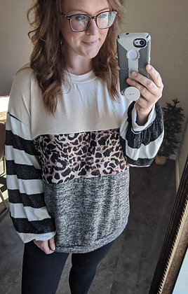 Curvy Leopard Color Block Top