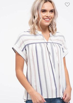 Blue + Grey Stripe Top